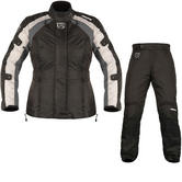 Akito Tornado Ladies Motorcycle Jacket & Trousers Black Gun Black Kit