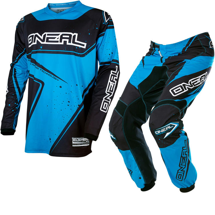 Oneal Element 2017 Racewear Motocross Jersey & Pants Black Blue Kit