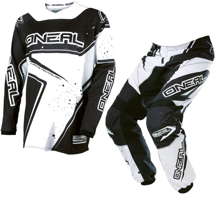 Oneal Element 2017 Racewear Youth Motocross Jersey & Pants Black White Kit