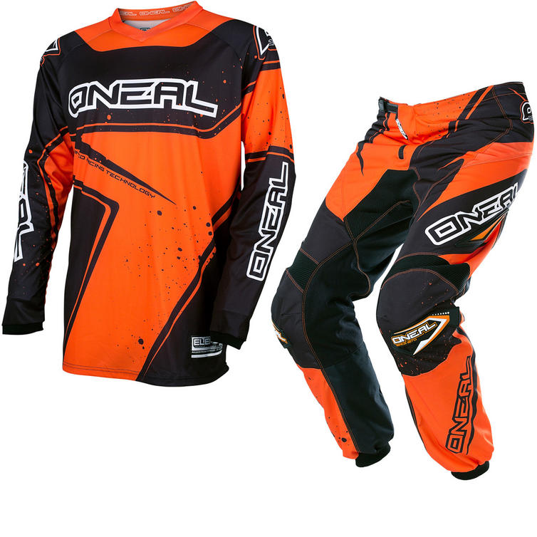 Oneal Element 2017 Racewear Youth Motocross Jersey & Pants Black Orange Kit