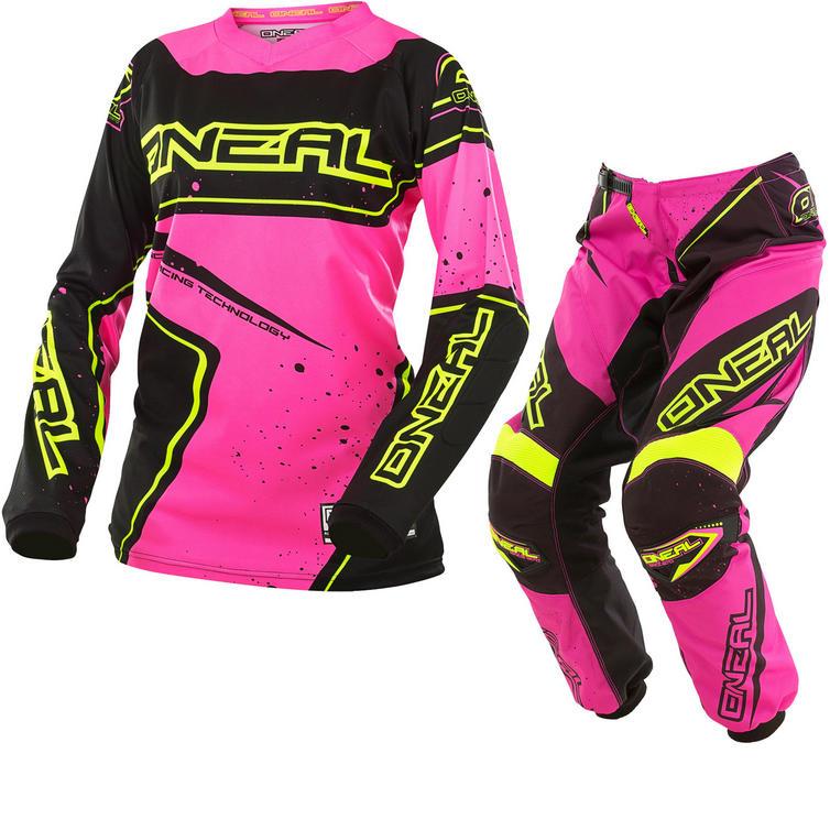 Oneal Element 2017 Racewear Ladies Motocross Jersey & Pants Black Pink Yellow/Pink Yellow Kit