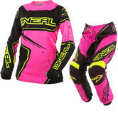 Oneal Element 2017 Racewear Ladies Motocross Jersey & Pants Black Pink Yellow/Pink Yellow Kit