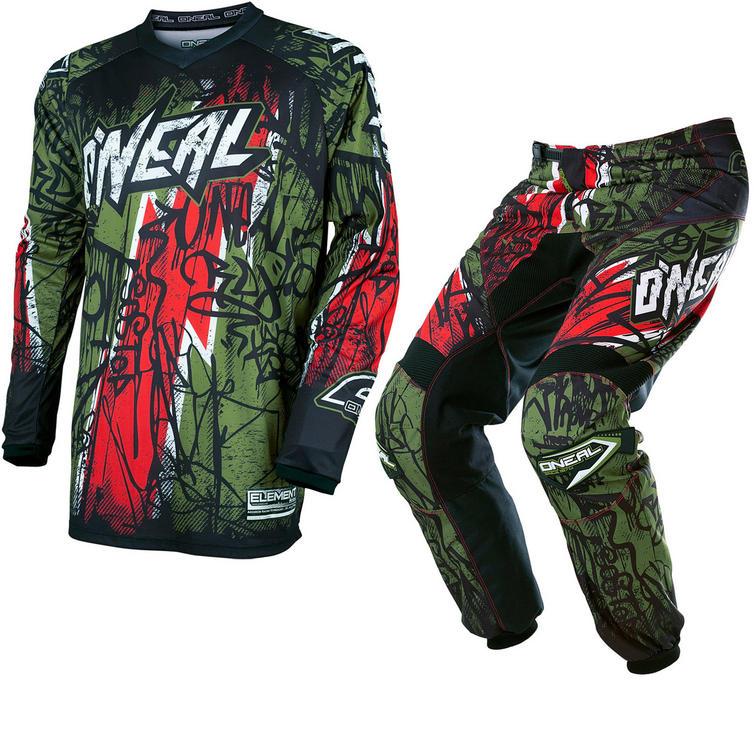 Oneal Element 2017 Vandal Motocross Jersey & Pants Green Red Kit