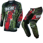 Oneal Element 2017 Vandal Motocross Jersey & Pants Green Red Kit