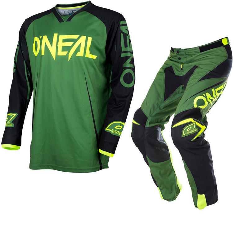 Oneal Mayhem Lite 2017 Blocker Motocross Jersey & Pants Army Green Black Kit