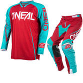 Oneal Mayhem Lite 2017 Blocker Motocross Jersey & Pants Red Blue Kit