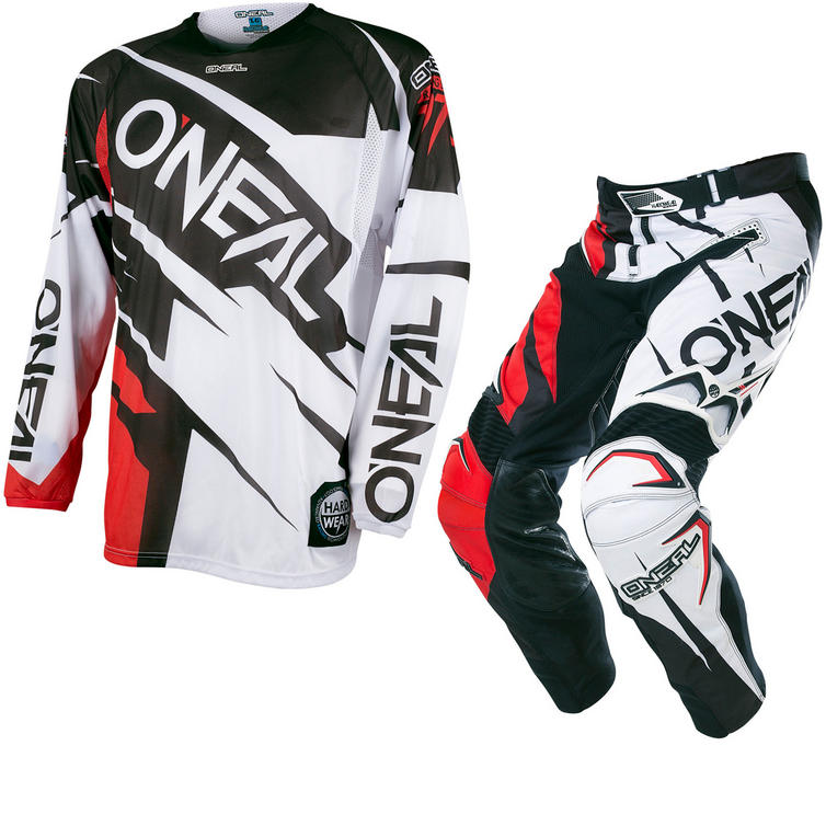 Oneal Hardwear 2017 Flow Jag Motocross Jersey & Pants White Red/Black Red Kit