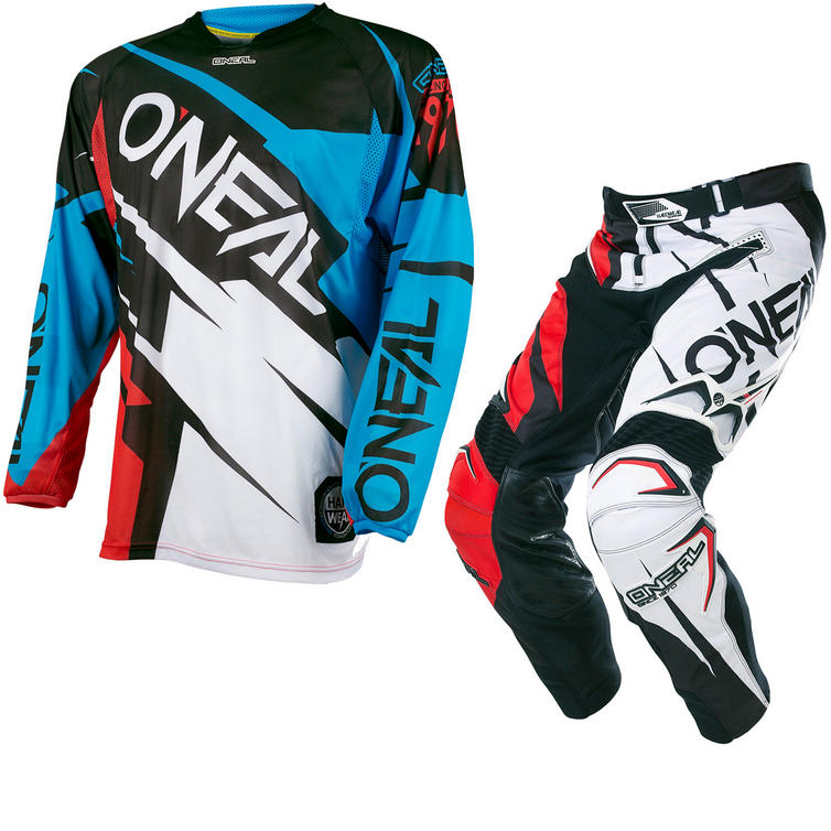 Oneal Hardwear 2017 Flow Jag Motocross Jersey & Pants Blue Red/Black Red Kit