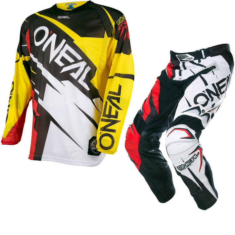 Oneal Hardwear 2017 Flow Jag Motocross Jersey & Pants Yellow Red/Black Red Kit