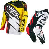 Oneal Hardwear 2017 Flow Jag Motocross Jersey & Pants Yellow Red/Black Red Kit