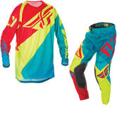 Fly Racing 2017 Evolution Motocross Jersey & Pants Teal Hi-Viz Red Kit