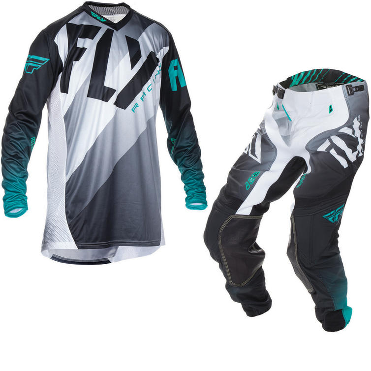 Fly Racing 2017 Lite Hydrogen Motocross Jersey & Pants Black White Teal Kit