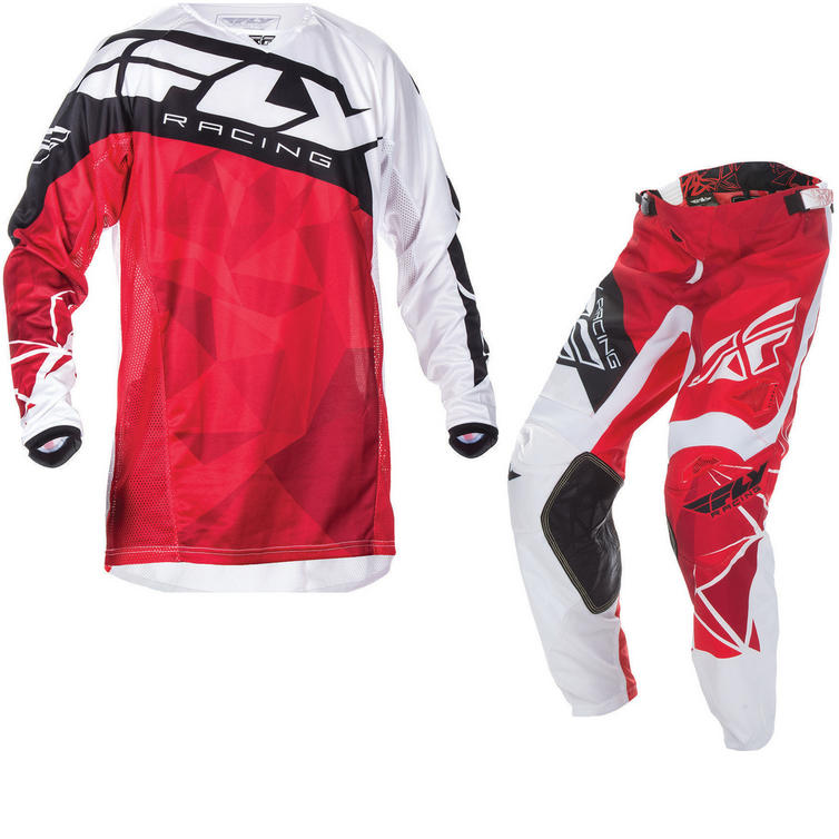 Fly Racing 2017 Kinetic Crux Motocross Jersey & Pants Red White Black Kit