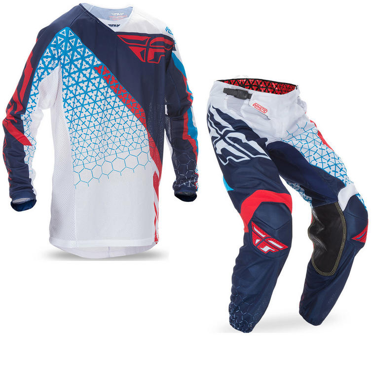 Fly Racing 2017 Kinetic Mesh Trifecta Motocross Jersey & Pants Red White Blue Kit