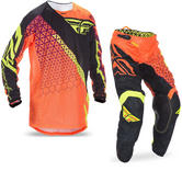 Fly Racing 2017 Kinetic Mesh Trifecta Motocross Jersey & Pants Flo Orange Black Kit