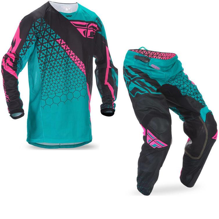 Fly Racing 2017 Kinetic Mesh Trifecta Motocross Jersey & Pants Teal Pink Black Kit