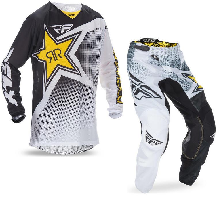 Fly Racing 2017 Kinetic Mesh Rockstar Motocross Jersey & Pants White Black Kit