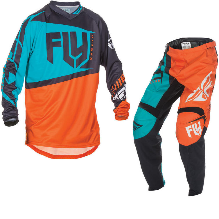 Fly Racing 2017 F-16 Youth Motocross Jersey & Pants Orange Teal Kit