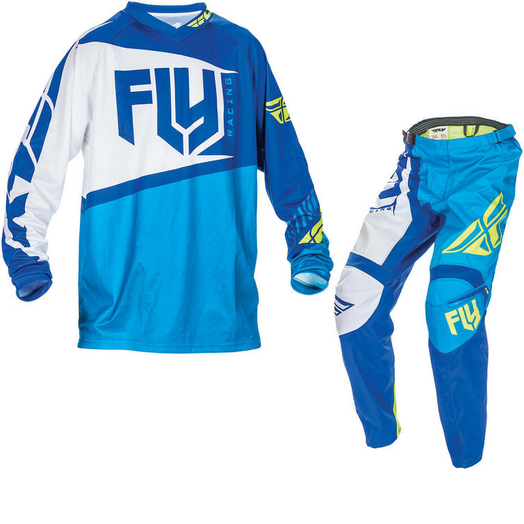 Fly Racing 2017 F-16 Youth Motocross Jersey & Pants Blue Hi-Viz Kit