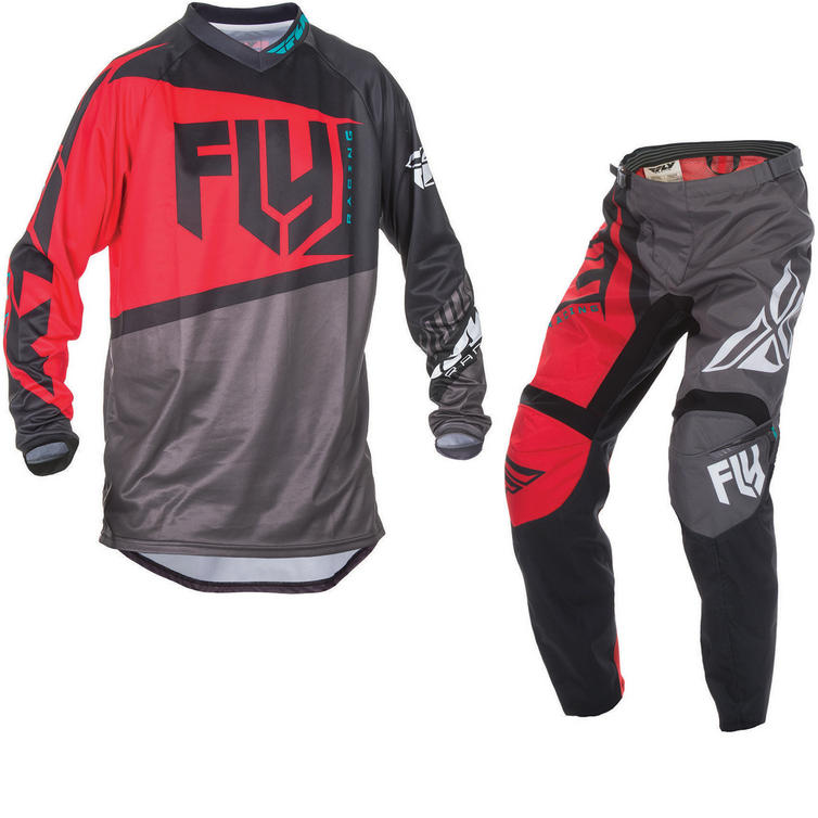 Fly Racing 2017 F-16 Youth Motocross Jersey & Pants Red Black Kit