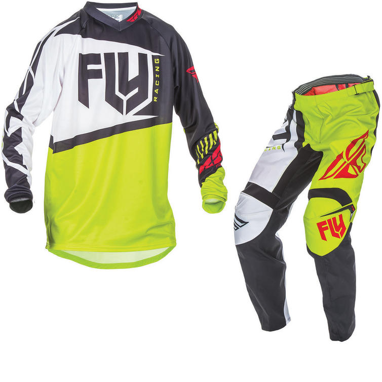 Fly Racing 2017 F-16 Youth Motocross Jersey & Pants Black Lime Kit