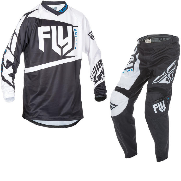 Fly Racing 2017 F-16 Youth Motocross Jersey & Pants Black White Kit
