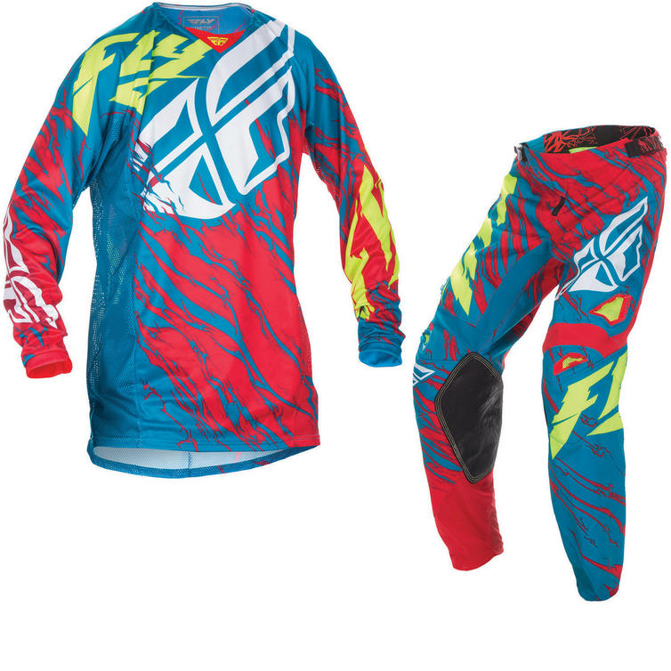 Fly Racing 2017 Kinetic Relapse Youth Motocross Jersey & Pants Teal Red Hi-Viz Kit
