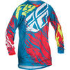 Fly Racing 2017 Kinetic Relapse Youth Motocross Jersey & Pants Teal Red Hi-Viz Kit Thumbnail 4