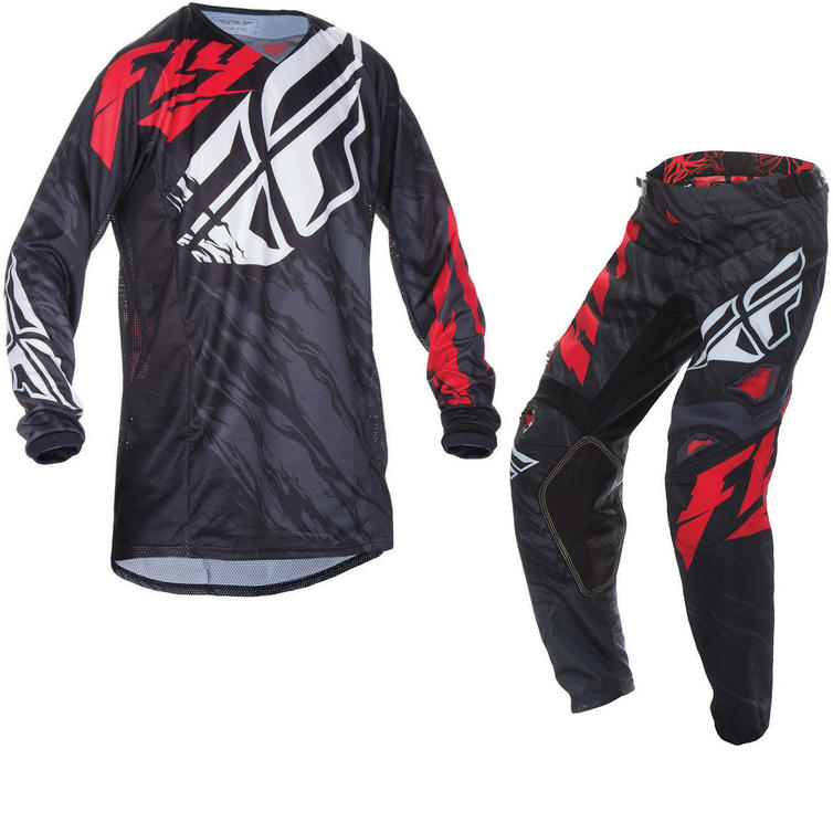 Fly Racing 2017 Kinetic Relapse Youth Motocross Jersey & Pants Black Red White Kit