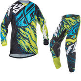 Fly Racing 2017 Kinetic Relapse Youth Motocross Jersey & Pants Lime Black Blue Kit