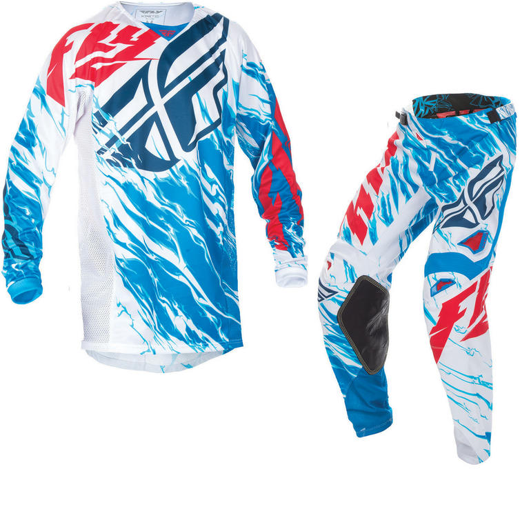 Fly Racing 2017 Kinetic Relapse Youth Motocross Jersey & Pants Red White Blue Kit