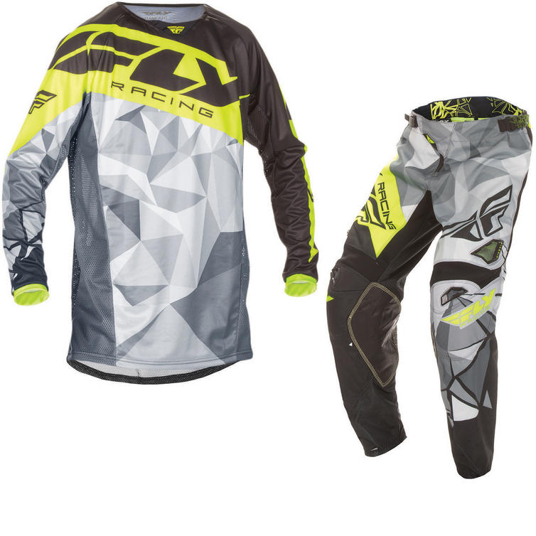 Fly Racing 2017 Kinetic Crux Youth Motocross Jersey & Pants Black Grey Hi-Viz Kit