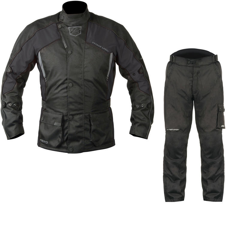 Akito Python Sport Motorcycle Jacket & FREE Trousers Black Kit