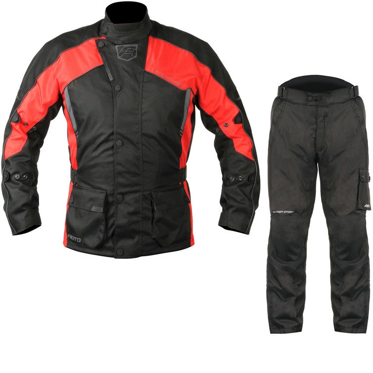 Akito Python Sport Motorcycle Jacket & FREE Trousers Black Red Black Kit