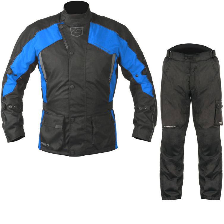 Akito Python Sport Motorcycle Jacket & FREE Trousers Black Blue Black Kit