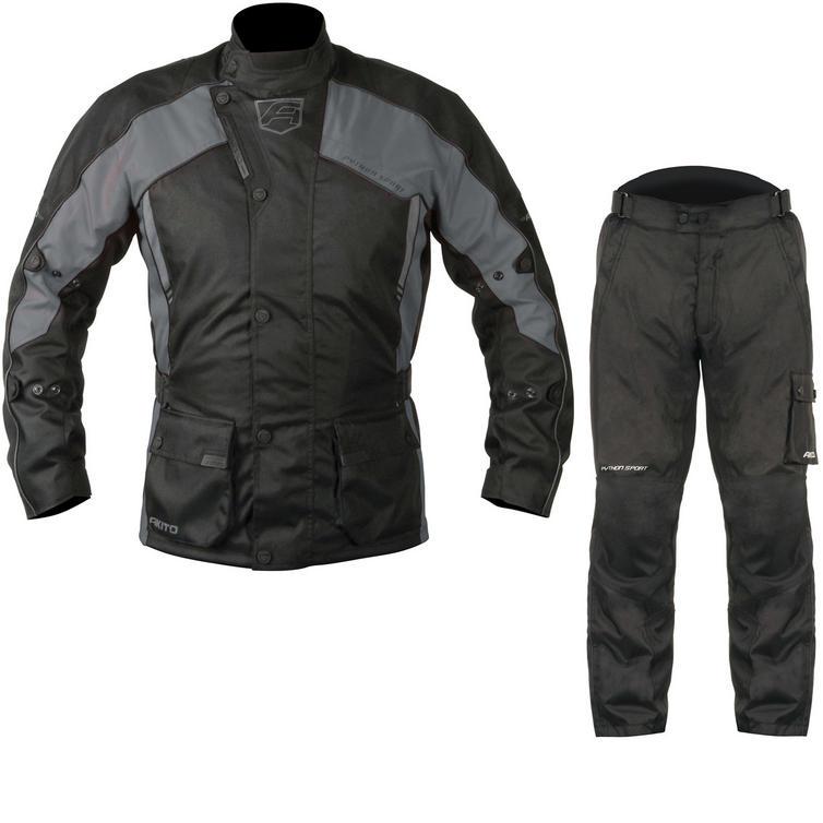 Akito Python Sport Motorcycle Jacket & FREE Trousers Black Gun Black Kit