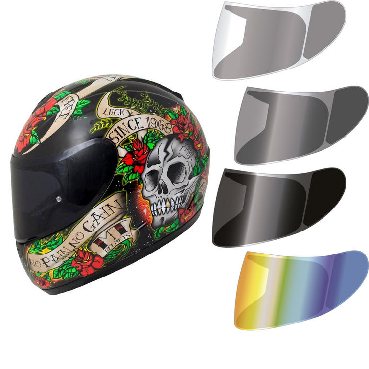 MT Thunder Skull & Roses Limited Edition Motorcycle Helmet & Visor