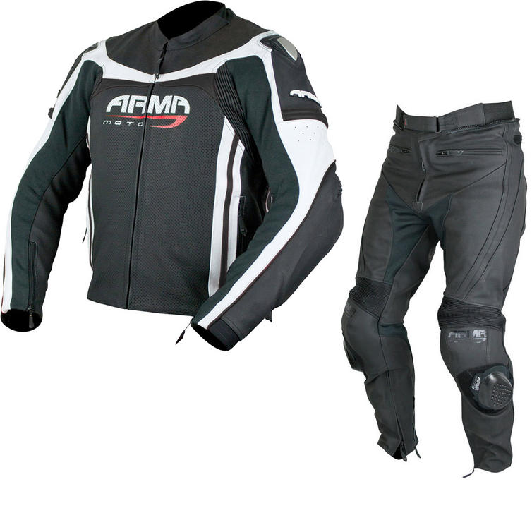 ARMR Moto Raiden Leather Motorcycle Jacket & Trousers Black White Kit