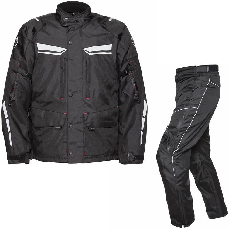 Agrius Columba Motorcycle Jacket & Hydra Trousers Black Kit - Standard Leg