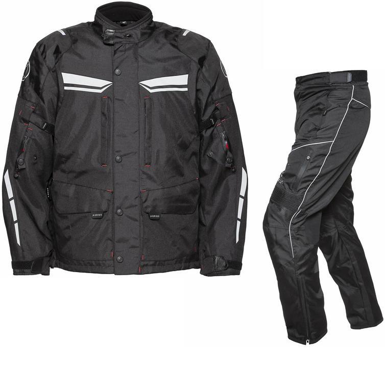 Image of Agrius Columba Motorcycle Jacket & Hydra Trousers Black Kit - Short Leg