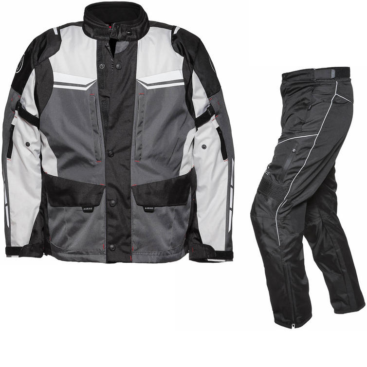 Agrius Columba Motorcycle Jacket & Hydra Trousers Black Grey Stone Black Kit - Short Leg