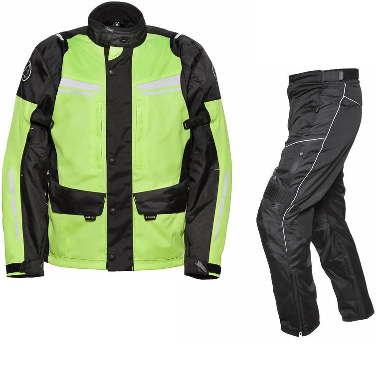 Image of Agrius Columba Motorcycle Jacket & Hydra Trousers Black Hi-Vis Black Kit - Short Leg