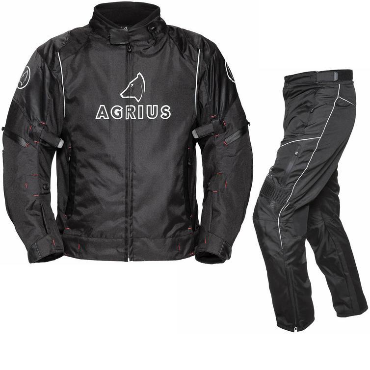 Image of Agrius Orion Motorcycle Jacket & Hydra Trousers Black Kit - Short Leg
