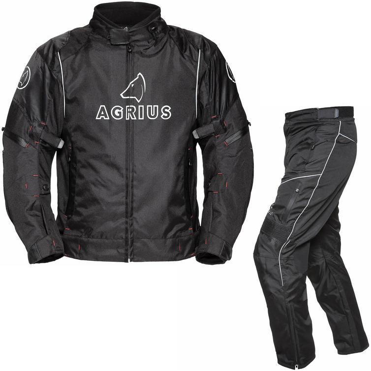 Agrius Orion Motorcycle Jacket & Hydra Trousers Black Kit - Short Leg