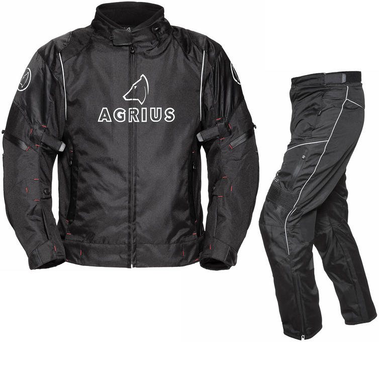 Image of Agrius Orion Motorcycle Jacket & Hydra Trousers Black Kit - Long Leg