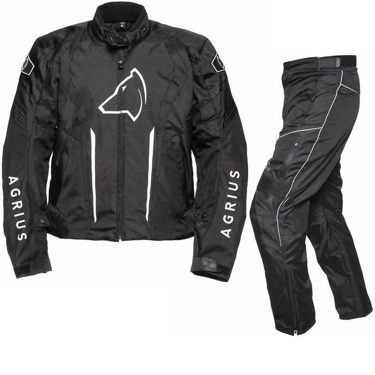 Image of Agrius Phoenix Motorcycle Jacket & Hydra Trousers Black Kit - Standard Leg