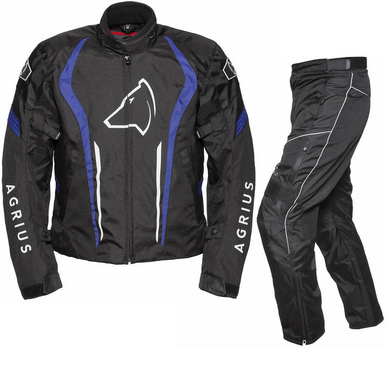 Agrius Phoenix Motorcycle Jacket & Hydra Trousers Black Blue Black Kit - Standard Leg