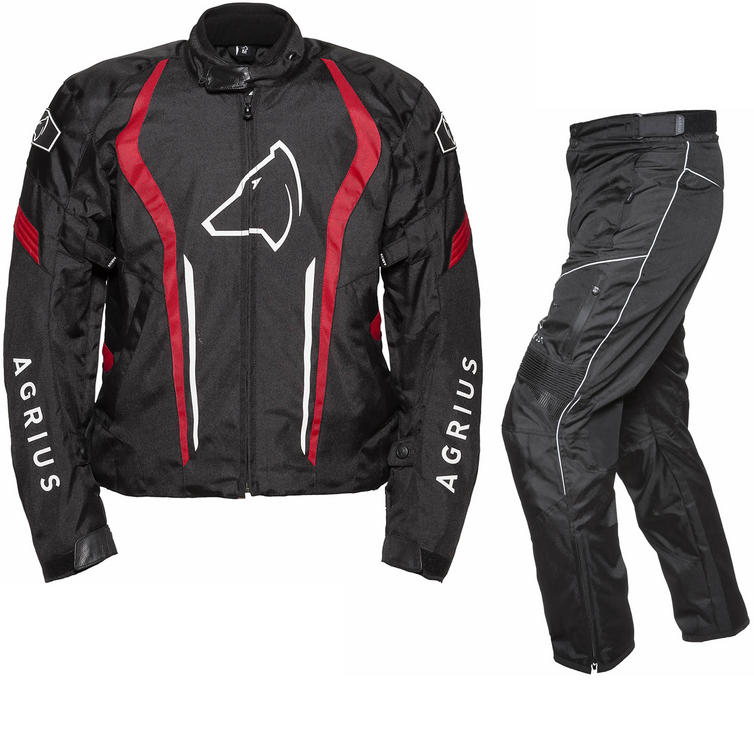 Agrius Phoenix Motorcycle Jacket & Hydra Trousers Black Red Black Kit - Long Leg