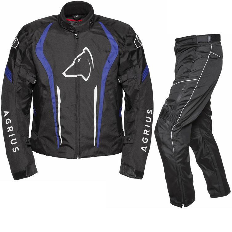 Image of Agrius Phoenix Motorcycle Jacket & Hydra Trousers Black Blue Black Kit - Long Leg
