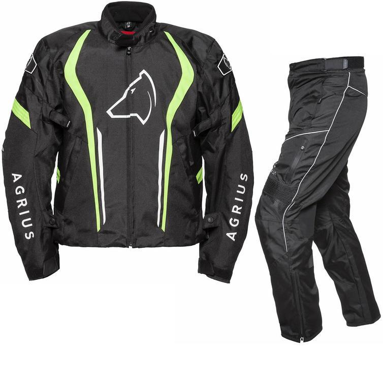 Image of Agrius Phoenix Motorcycle Jacket & Hydra Trousers Black Hi-Vis Black Kit - Long Leg